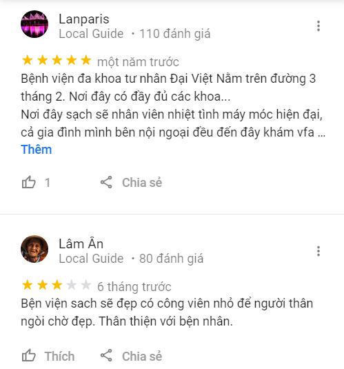 Đánh giá phòng khám Đại Việt qua Google Maps